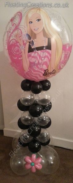 Barbie Balloon Column. Stands 51 Inches tall. A really pretty balloon display that any Barbie fan will love. https://www.facebook.com/balloonsglasgow