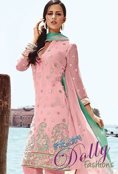 Alluring Pink Chiffon Embroidered Salwar Suit