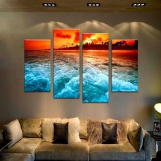 4PCS the best selling tropical sunset Wall painting print on canvas for home decor ideas paints on wall pictures art F/1348
