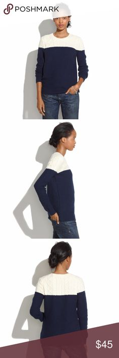 """Madewell Colorblock Cable Knit Sweater $88 Madewell Colorblock Cable Knit Sweater Navy Ivory Sz L PRODUCT DETAILS Stitch-mixing and colorblocking make this an endlessly versatile piece. True to size. Cotton/viscose/nylon/angora. Dry clean. Import. M E A S U R E M E N T S: (Laying Flat)  21"""" armpit to armpit  15"""" shoulder to shoulder 24"""" sleeves (shoulder seam to cuff) 26"""" long (shoulder to bottom) C O L O R: Dark blue, ivory  M A T E R I A L: 55% cotton, 20%viscose, 18% nylon, 7% rabbit hair…"""