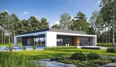Projekt domu parterowego Harmonijny D56 wariant I o pow. 140,03 m2 z obszernym garażem, z dachem płaskim, z tarasem, sprawdź! Bungalow, New House Plans, Home Fashion, Exterior Design, Shed, New Homes, Outdoor Structures, House Design, Mansions