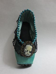 Skeleton Cameo Decorated Pointe shoe by PavlovasDogs on Etsy
