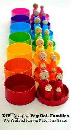 Peg Dolls DIY Toys for Kids These DIY rainbow peg dolls are simple for older kids, tweens, teens and adults to make. They are perfect for pretend play and color matching games. Doll Crafts, Diy Doll, Crafts For Kids, Baby Toys, Kids Toys, Diy Toys For Toddlers, Baby Play, Homemade Toys, Wooden Pegs