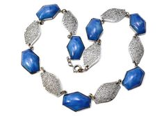 Vintage Art Deco marbled blue glass silver filigree link necklace *** $59 at Pipit Vintage