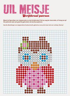 strijkkraal patroon uil meisje, design Jojojanneke
