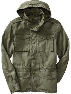 Mens Hooded Military-Style Canvas Jackets