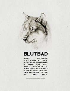 "Grimm creatures + Wesen  A Blutbad (plural: Blutbaden; pronunciation: BLOOT-baat, BLOOT-baad in Grimm; Germ. Blut ""blood"" + Bad ""bath"") is a wolf-like Wesen that is the basis of the fairy tale character of the Big Bad Wolf. They are among the more prolific races of Wesen in the series."