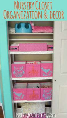 Nursery Closet Organization and Decor- easy and time tested system. - I love the stenciling on the simple fabric storage boxes - could do iron-ons as well - Nursery Closet Organization, Home Organization Hacks, Organizing Tips, Native American Nursery, Nursery Room, Nursery Decor, Babies Nursery, Elephant Nursery, Nursery Ideas