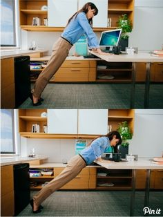 Desk push-ups are a good way to get the heart rate up while also giving your arms and hands a bit of a break from the keyboard.