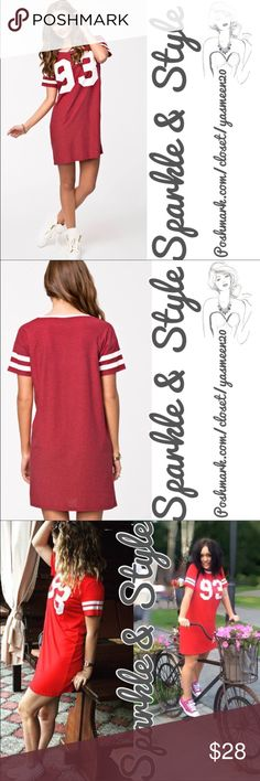 "🆕✨💖Red sport top/dress Can be worn as a long top or a sporty dress. Cotton/ polyester blend fabric. MEDIUM; BUST: 40"", LENGTH: 31 1/2"". Color bright red like in 3rd pictures. Sparkle & Style Tops"