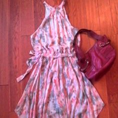 Floral Dress Never worn, Pink & Grey swing hem with belt Dresses Midi