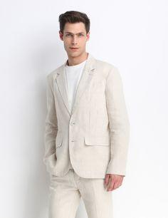 Sacou din in - Beige Suit Jacket, Breast, Jackets, Fashion, Down Jackets, Moda, La Mode, Jacket, Fasion