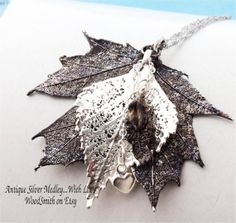Real Silver Leaf Jewelry Antique Silver Leaves Medley three leaves, sterling silver and antique silver by WoodSmith