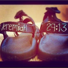 Stitch a bible verse on the back of chacos. Must do!
