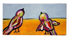 Two Birds Watching the Sky, Bird Painting, ©W.Rosson #homedecor #birds #painting