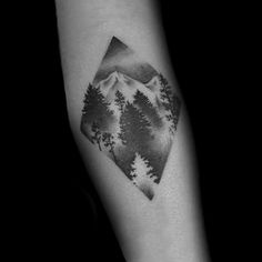 Black And Grey Male Diamond Forest Tattoo Inspiration On Forearms
