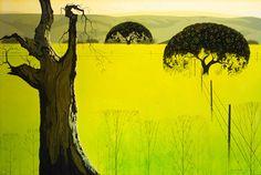 Mustard Field, oil painting by Eyvind Earle