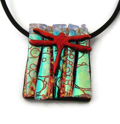 Handmade Dichroic Glass Slide Pendant includes necklace * Dragonfly *