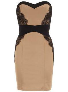 Dorothy Perkins Mocha #lace trim #bustier #dress $69