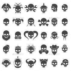 Skull Icons Set by v Small Skull Tattoo, Skull Tattoo Design, Skull Design, Skull Tattoos, Art Tattoos, Skull Artwork, Skull Painting, Art Drawings Sketches, Cute Drawings