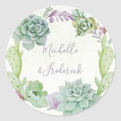 Succulent Wedding Invitations, Cactus Wedding, Watercolor Succulents, Desert Cactus, Watercolor Wedding, Watercolour, Wedding Stickers, Wedding Art, Round Stickers