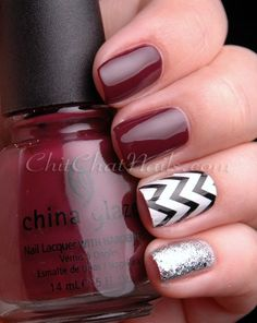 Red, black and white with silver glitter Zig-Zag #Chevron #nails