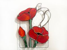 Poppies Stained Glass Suncatcher Panel Hanging Red Poppy Window - A large stained glass suncatcher (or small panel) consisting of four types of stained glass and thr - Stained Glass Ornaments, Making Stained Glass, Stained Glass Suncatchers, Stained Glass Flowers, Stained Glass Designs, Stained Glass Panels, Stained Glass Projects, Stained Glass Patterns, Stained Glass Art