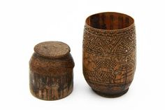 Vintage Betelnut Container Handmade Rustic Canister Carved