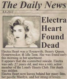 Marina And The Diamonds • Electra Heart • newspaper article • death
