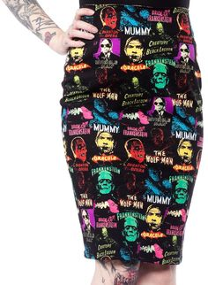 ROCK REBEL MONSTER COLLAGE SKIRT $64.00 #rockrebel #monsters #universalmonsters #halloween #skirt #frankenstein #dracula #wolfman