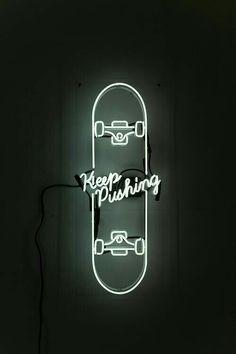 #skateboarding #keeppushing #keep #pushing #skate #board #skateboard #white #neon #electric #electrical #light #wheels #travel #fun #motivational #motivation #quotes #sports #rad #awesome #swell #super #art #bestart #best #neonart #glow #glowing