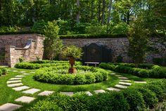 Portfolio - Kean Landscaping Boxwood Garden, Garden Paths, Stepping Stones, Sidewalk, Landscape, Outdoor Decor, Gardens, Bathroom, Washroom