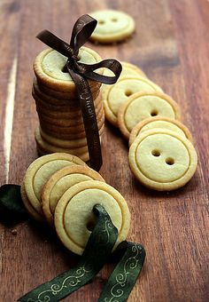 Something different-Button cookies. You need a shortbread (butter cookie) recipe, two biscuit cutters (one slightly smaller than the other), and a drinking straw (to make the holes). crafts
