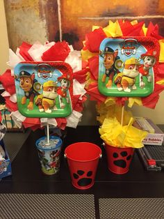 Paw Patrol Centerpiece. Paper Plate and Tissue Centerpieces. Diy. Centerpiece. Cheap. Tissue Paper.