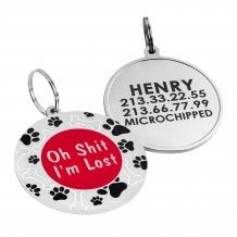 Dog ID Tag Personalized Enameled Red