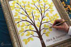 Wedding Guest Book Alternative - The Dreamwik - A Peachwik Interactive Art Print - 100 guest sign in - Chevron Pattern Wedding Dreams Tree. $38.00, via Etsy.