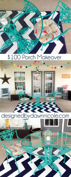Not sure I love the colors, but the decor is great! Before and After: Colorful and Bright Porch Makeover on a Budget Outdoor Rooms, Outdoor Living, Outdoor Stuff, Outdoor Areas, Outdoor Decor, Bungalow, Porch Makeover, Exterior Makeover, Diy Casa