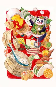 Dim Sum Circus Illustration by Jiaqi He (PenelopeLovePrints) - Doodlewash Circus Illustration, Watercolor Illustration, Psychedelic Drawings, Person Drawing, Food Painting, Food Drawing, Watercolor Artists, Detail Art, Mural Art