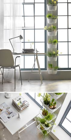 Indoor Garden Ideas - Hang Your Plants From The Ceiling & Walls // Attaching a vertical hanger to your wall provides the perfect spot for plants. Mixing herbs, flowers, and grasses adds texture and color to your space and makes it smell great all the time.