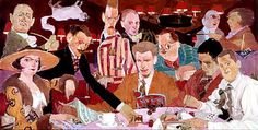 Painting of the famous Algonquin Round Table from the 1920s, a mural in the dining room of the Algonquin Hotel.   Dorothy Parker is wearing the hat, on the left.  Robert Benchley is above her.  Mathilde, the hotel cat, is seen upside down in Benchley's pipe smoke.