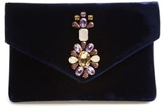 shipping and returns on Shiraleah 'Mindy' Beaded Velvet Clutch at . Sparkling stones look radiant against the midnight blue velvet of a chic evening envelope clutch. Cheap Purses, Unique Purses, Cute Purses, Beaded Clutch, Beaded Purses, Envelope Clutch, Clutch Bag, Handbags On Sale, Purses And Handbags