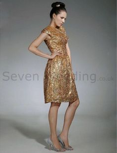 Sheath Column Scoop Capped Sequin Fabric Knee-length Evening Dress