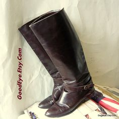 Vintage Leather Equestrian Boots ITALY size 8 .5  Eur by GoodEye