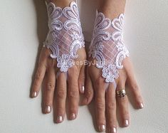 Unique ivory french lace gloves free ship wedding by ByVIVIENN