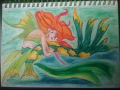 Water colour pencils. 2016. My niece Grace wanted Aunty to draw and colour her something bright so I decided to make her a special mermaid.
