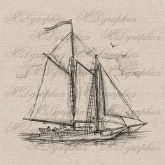 Antique Ship Boat illustration printable digital download graphic image.    You can instantly download this image as soon as your payment is