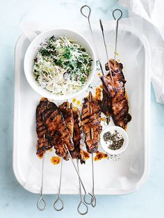 harissa beef skewers with tahini slaw from donna hay