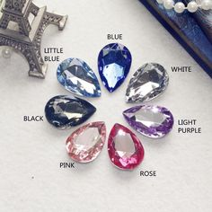 21PCS! High Quality Drops of water Shape Acryl Stone 3 SIZE CHOOSE,NO HOLE, 7 colors can choose color