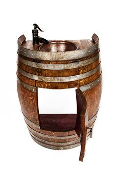 "Barrel Sink - ""Pranya - Wine Barrel vanity w/ copper sink and faucet - Whiskey Barrel Sink, Bourbon Barrel, Whiskey Barrels, Barrel Bar, Wine Barrel Chairs, Wine Barrel Furniture, Diy Garden Fountains, Sink Design, Rustic Bathrooms"