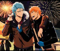 BLEACH, Grimmjow Jeagerjaques, Kurosaki Ichigo, Four Males, Arm Around Shoulder Manga Bleach, Rukia Bleach, Boys Anime, Manga Anime, Anime Art, Shinigami, Bleach Characters, Anime Characters, Awesome Anime